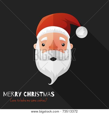 Santa Claus Face with Flat Design