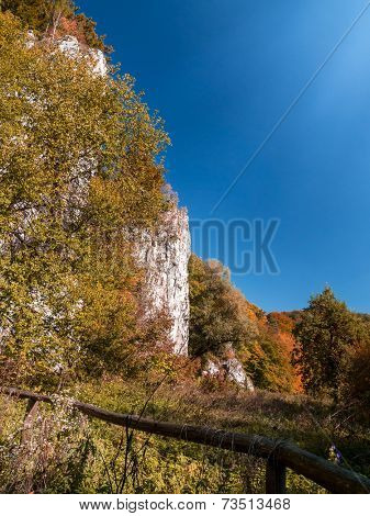 Ojcow National Park with limestone rocks in autumn time, part of Krakow-Czestochowa Upland, Poland