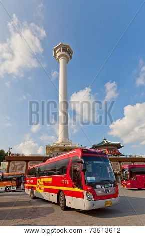 Excursion Buses Near Busan Tower In Busan, Korea