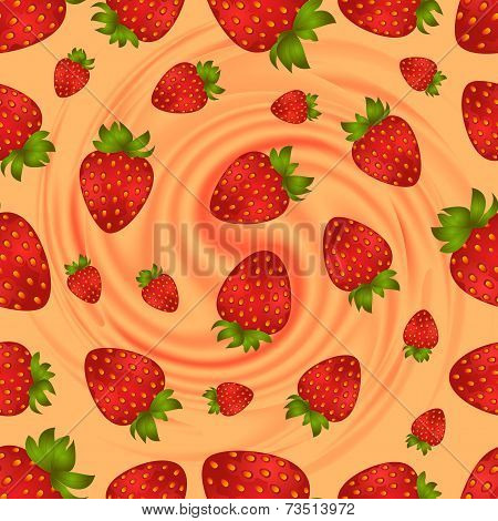 Seamless Strawberry Pattern With Swirl Background