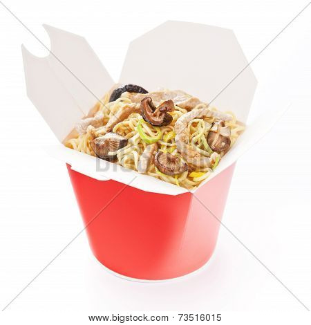 Noodles With Pork And Shiitake Mushrooms In Take-out Box On White Background
