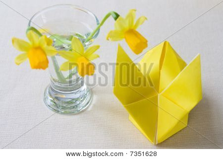 Yellow Origami Easter Bunny