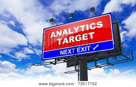 Analytics Target Inscription on Red Billboard.