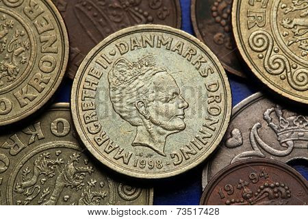 Coins of Denmark. Queen Margrethe II of Denmark depicted in Danish krone coins.