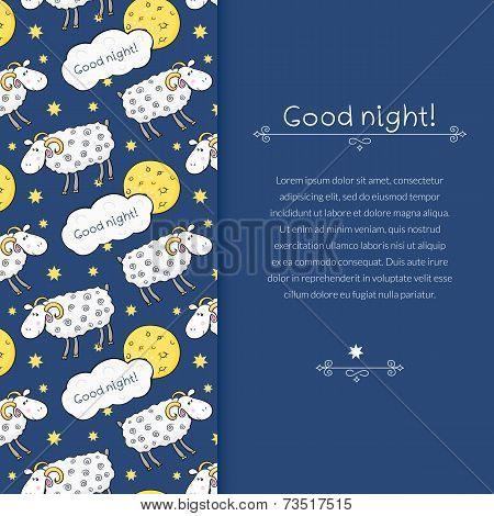 Vector border with images cute sheep on background night sky with moon and wish good night in cartoo