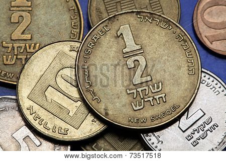Coins of Israel. Israeli half new shekel coin.