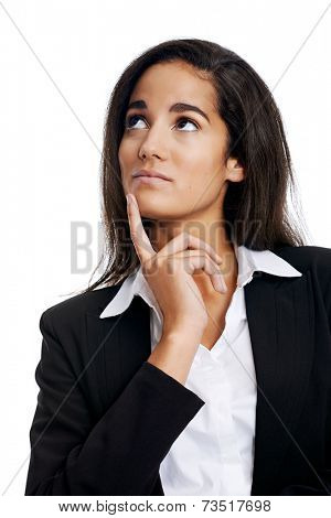 Thinking businesswoman with idea looking upward