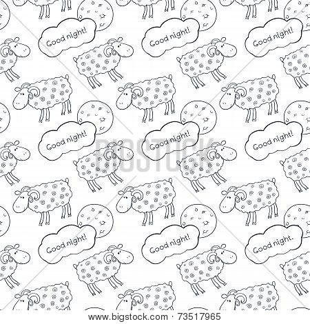 Black and white seamless vector pattern with images cute sheep on background night sky with moon and