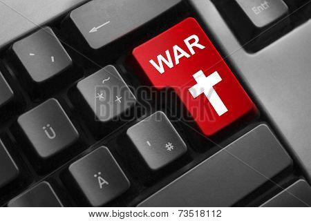 Keyboard Red Button Cyber War