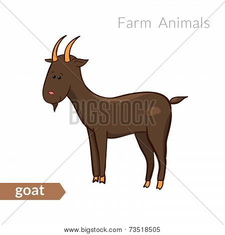 Vector cute cartoon goat  isolated background