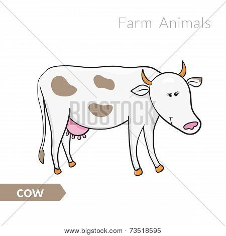 Vector cute cartoon white with spots isolated background