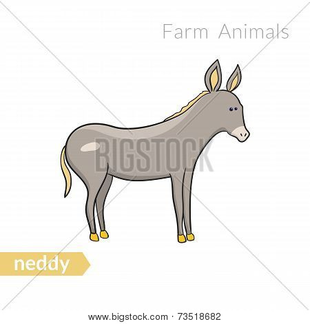 Vector cute cartoon donkey isolated background