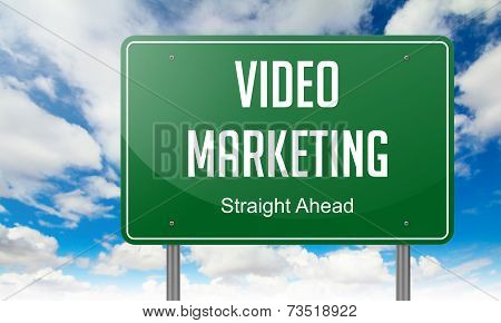 Video Marketing on Highway Signpost.