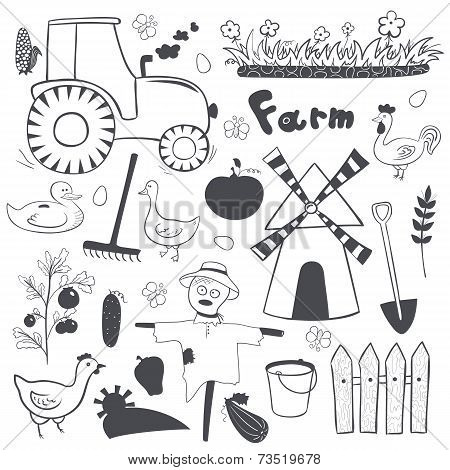 Vector farm black and white illustrations set in doodle style