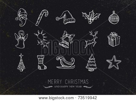 Vintage Sketch Christmas Icons