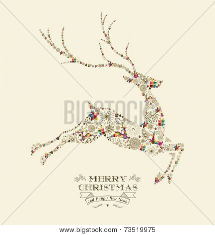 Merry Christmas Vintage Reindeer Greeting Card
