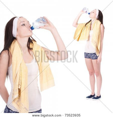 Girl with closed eyes drinks water after training