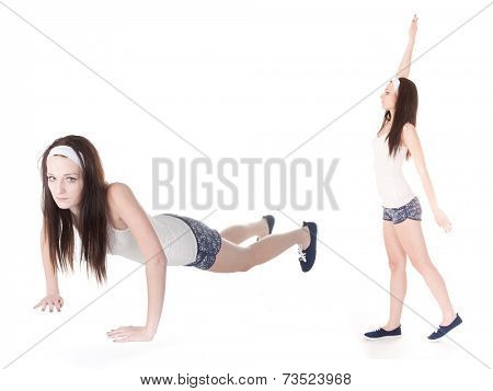 The image of girl go in for sport. She presses up