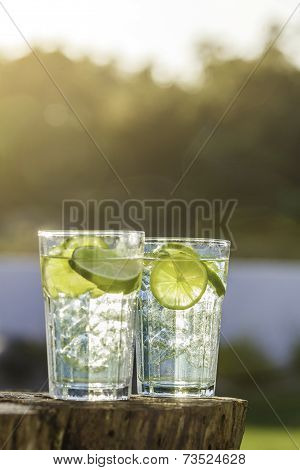 A Glass Of Lemon Lime Soda Filled With Ice Cubes, Soda