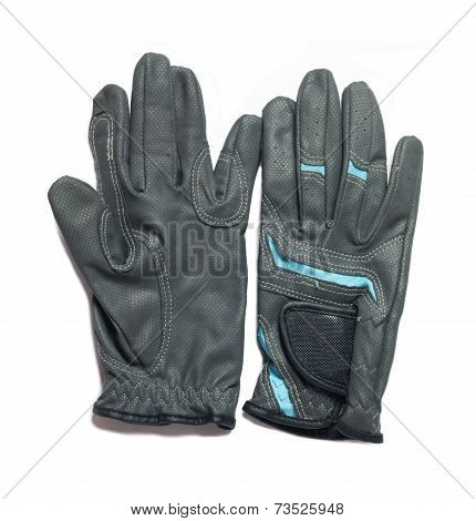 Equestrian Professional Grey  Gloves For Riding  Isolated On White