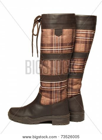 Horse Riding Wateresistant Brown Boots Isolated On White