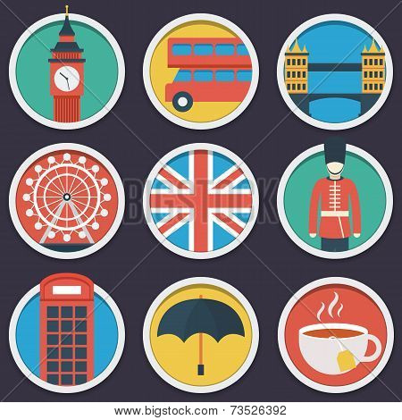 London flat circle icon set