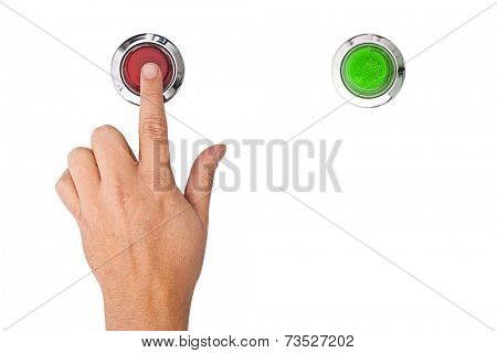A finger pressing a red panic button on white background