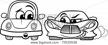 Old Automobile And Gt Car Cartoon