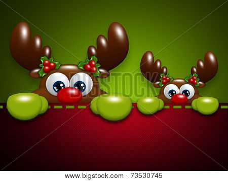Christmas Cartoon Reindeers In The Pocket