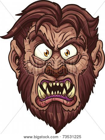 Angry werewolf face. Vector clip art illustration with simple gradients. All in a single layer.