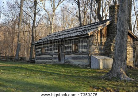 Old Split Log Cabin In The Woods