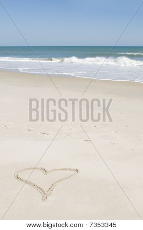 Heart Shape Drawn On Beach