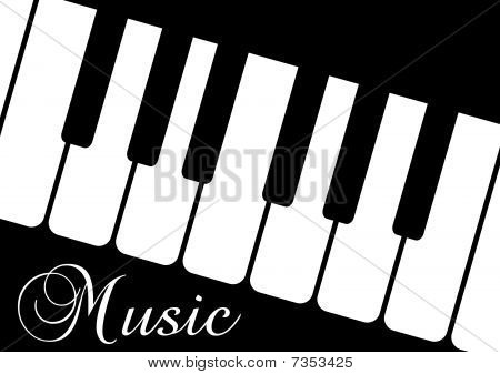 Illustration of a piano and the word Music on black background