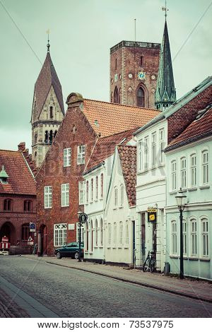Ribe,Denmark,19,March,2013:Empty Morning Street With Old Houses From Royal Town Ribe