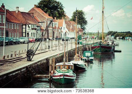Ribe,Denmark,19,March 2013:Ribe Harbour Skibbroen. Old Town And Ribe River