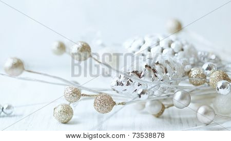 Cone-shaped christmas tree decorations; close up