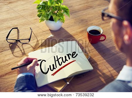 Businessman with Note About Culture Concepts