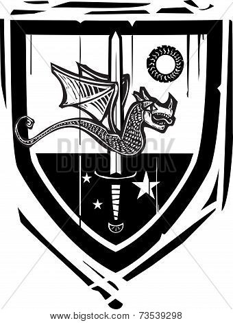 Heraldic Shield Dragon And Sword