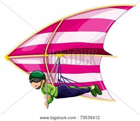 Illustration of a man doing hangglider