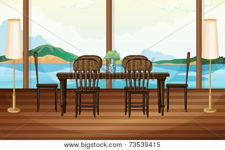 Illustration of a dining room with lake view