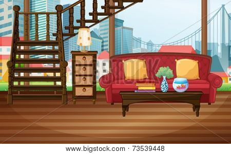 Illustration of a living room with city view
