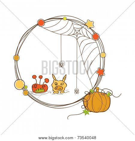 Halloween party celebration with kiddish ghost, pumpkin, star and spider weaving cobweb.