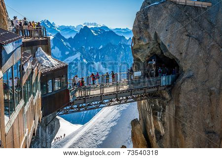 Auguille Du Midi, France -2 August 2013:top Station Of The Aiguille Du Midi 3842 M In French Alps