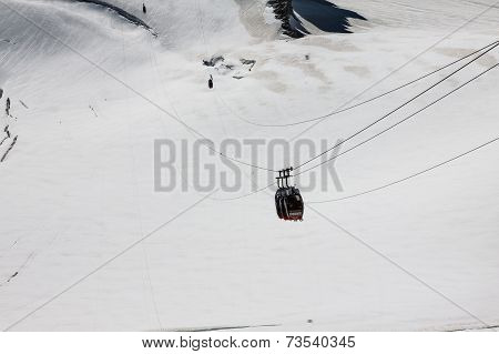Chamonix Mont Blanc,France, 2 Agust,2013:Red cable car railway cableway in ski resort