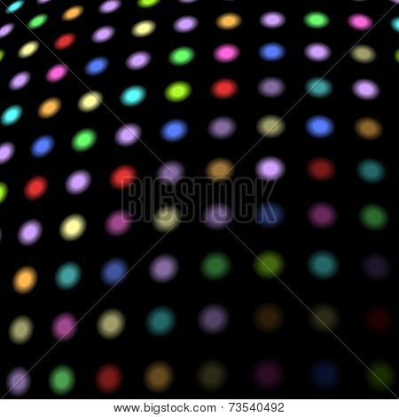 Colorful disco lights background with copy space.