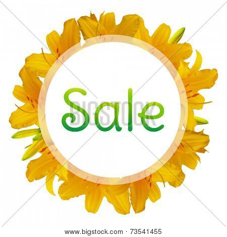 Sale Banner With Lilies, Isolated On White Background