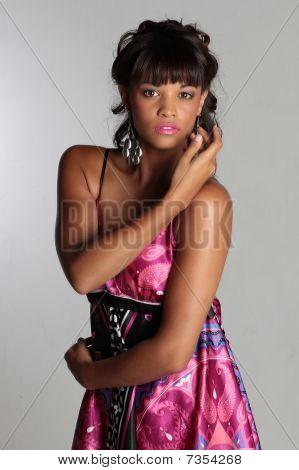Brunette In Purple Dress