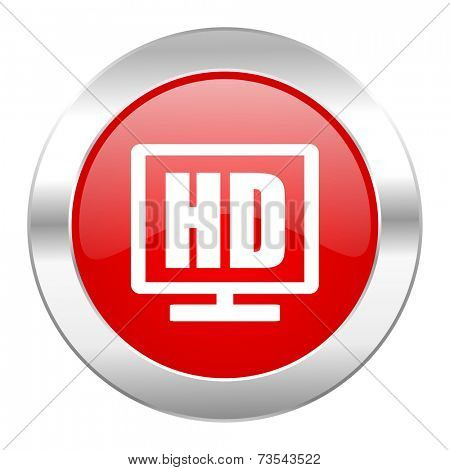 hd display red circle chrome web icon isolated