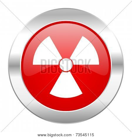 radiation red circle chrome web icon isolated