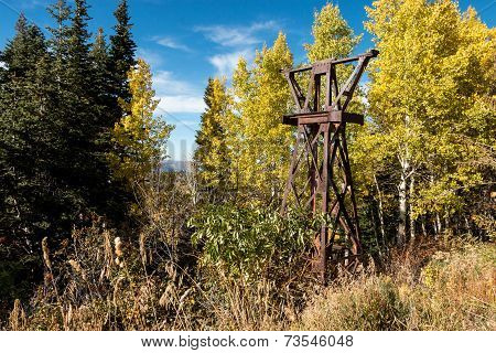 Rusty, abandoned ski lift tower